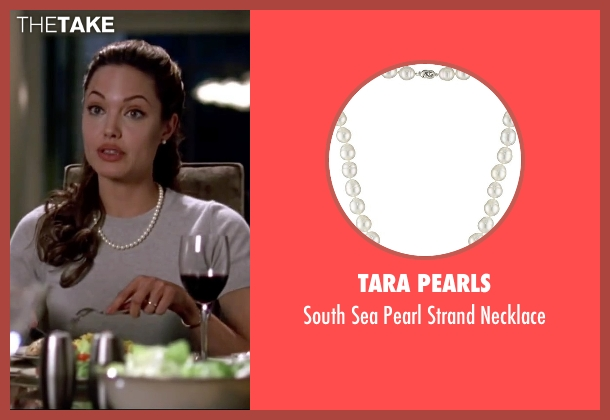 Tara Pearls white necklace from Mr. & Mrs. Smith seen with Angelina Jolie (Jane Smith)