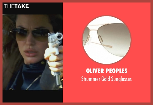 Oliver Peoples gold sunglasses from Wanted seen with Angelina Jolie (Fox)