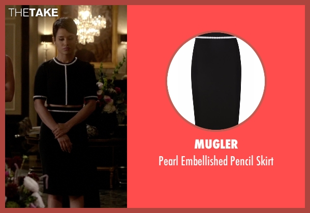 Mugler black skirt from Empire seen with Anika Calhoun (Grace Gealey)