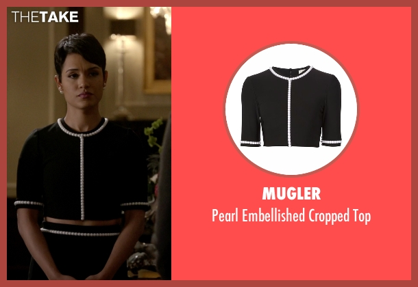 Mugler black top from Empire seen with Anika Calhoun (Grace Gealey)