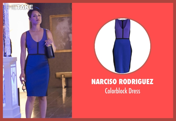 Narciso Rodriguez blue dress from Empire seen with Anika Calhoun (Grace Gealey)