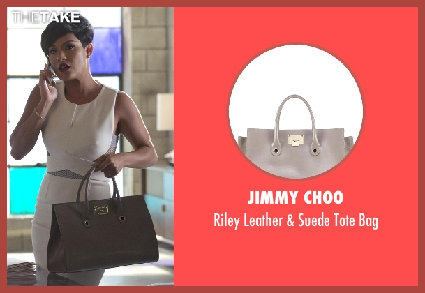 Jimmy Choo gray bag from Empire seen with Anika Calhoun (Grace Gealey)