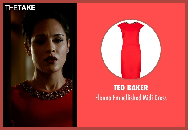 Ted Baker red dress from Empire seen with Anika Calhoun (Grace Gealey)