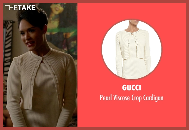 Gucci white cardigan from Empire seen with Anika Calhoun (Grace Gealey)