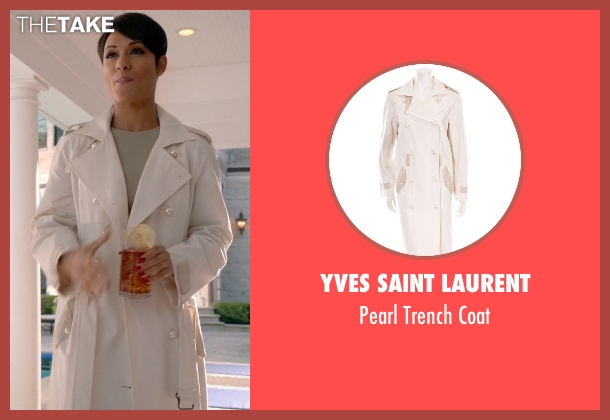 Yves Saint Laurent white coat from Empire seen with Anika Calhoun (Grace Gealey)