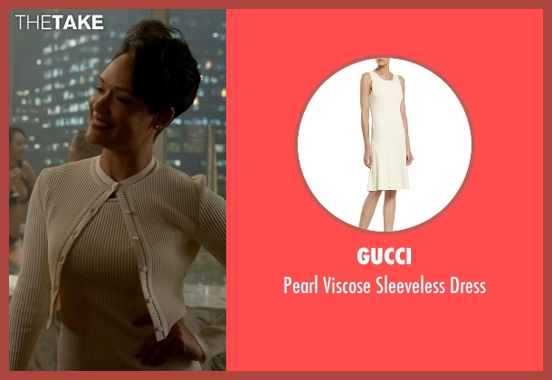 Gucci white dress from Empire seen with Anika Calhoun (Grace Gealey)