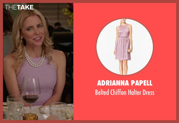 Adrianna Papell pink dress from The Mindy Project seen with Ann Marie Kimball-Kinney (Kerry Butler)