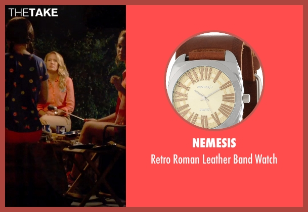 Nemesis brown watch from Pitch Perfect 2 seen with Anna Camp (Aubrey)