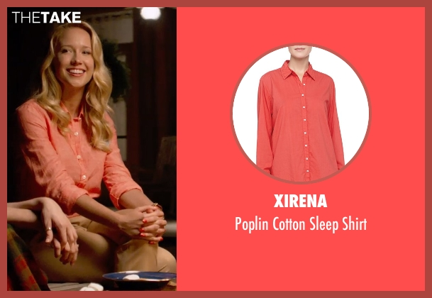 Xirena orange shirt from Pitch Perfect 2 seen with Anna Camp (Aubrey)
