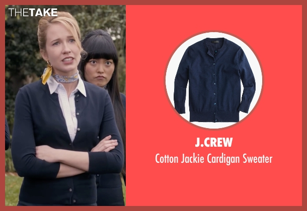 J.Crew blue sweater from Pitch Perfect seen with Anna Camp (Aubrey)