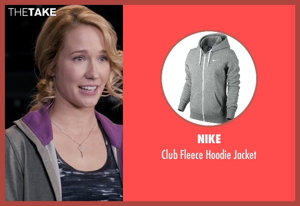Nike gray jacket from Pitch Perfect seen with Anna Camp (Aubrey)