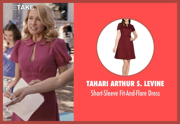 Tahari Arthur S. Levine red dress from Pitch Perfect seen with Anna Camp (Aubrey)