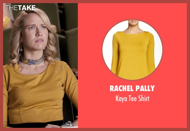 Rachel Pally yellow shirt from Pitch Perfect seen with Anna Camp (Aubrey)