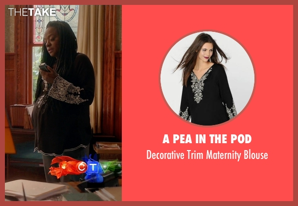 A Pea in the Pod black blouse from How To Get Away With Murder seen with Annalise Keating (Viola Davis)