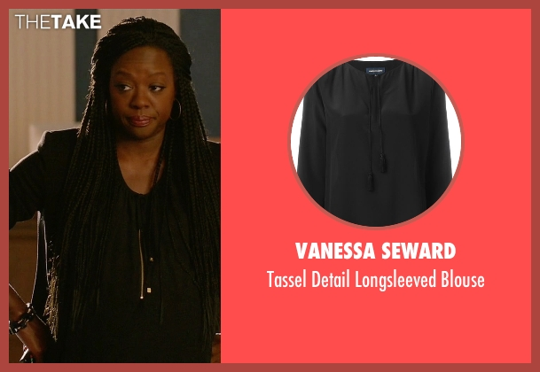 Vanessa Seward black blouse from How To Get Away With Murder seen with Annalise Keating (Viola Davis)