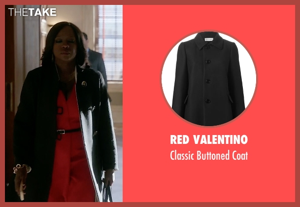 Red Valentino black coat from How To Get Away With Murder seen with Annalise Keating (Viola Davis)