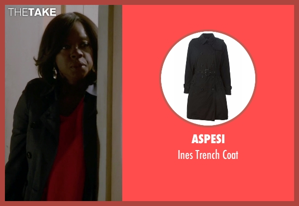 Aspesi black coat from How To Get Away With Murder seen with Annalise Keating (Viola Davis)