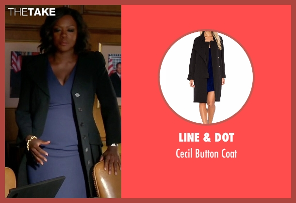 Line & Dot black coat from How To Get Away With Murder seen with Annalise Keating (Viola Davis)