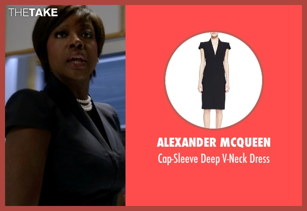 Alexander McQueen black dress from How To Get Away With Murder seen with Annalise Keating (Viola Davis)