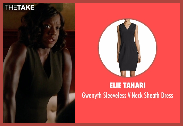Elie Tahari black dress from How To Get Away With Murder seen with Annalise Keating (Viola Davis)