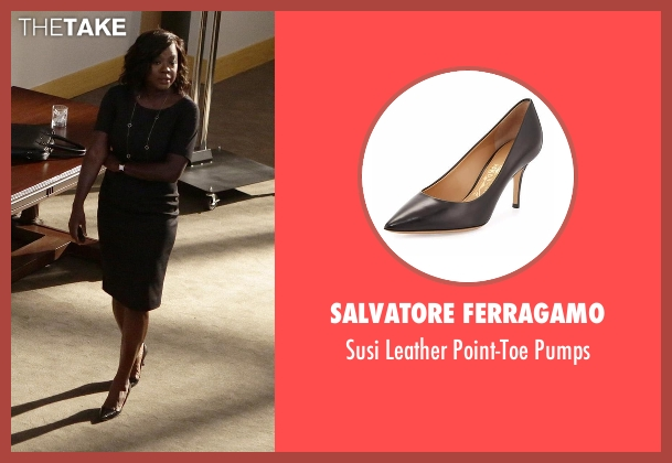 Salvatore Ferragamo black pumps from How To Get Away With Murder seen with Annalise Keating (Viola Davis)
