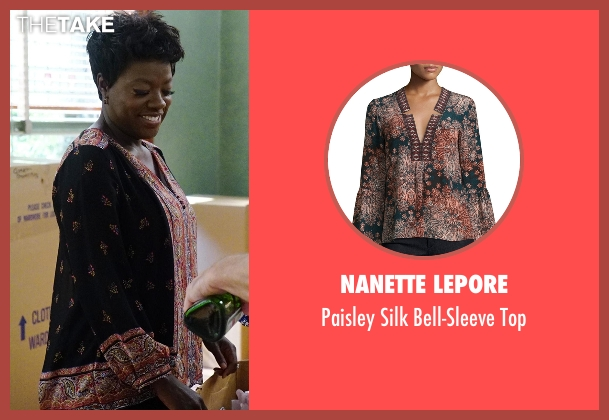 Nanette Lepore  black top from How To Get Away With Murder seen with Annalise Keating (Viola Davis)