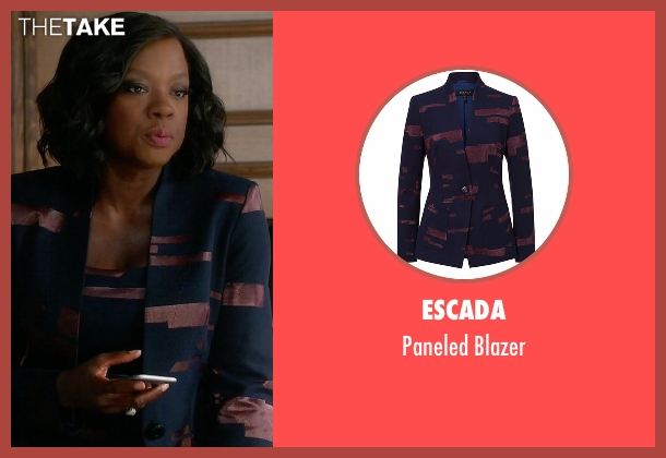 Escada blue blazer from How To Get Away With Murder seen with Annalise Keating (Viola Davis)
