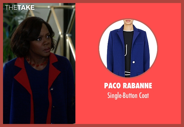 Paco Rabanne blue coat from How To Get Away With Murder seen with Annalise Keating (Viola Davis)