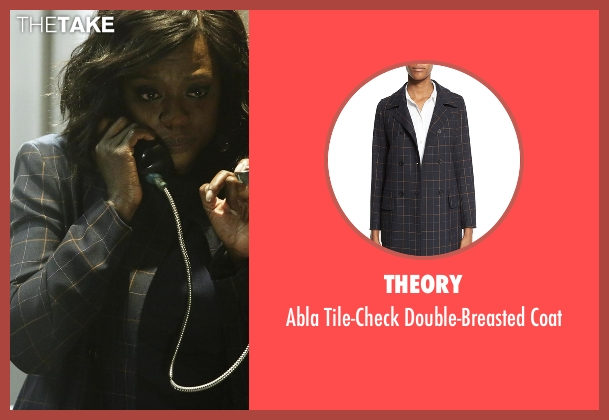 Theory blue coat from How To Get Away With Murder seen with Annalise Keating (Viola Davis)