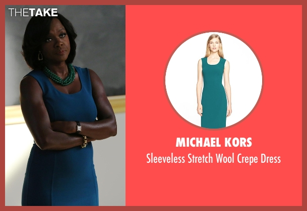 Michael Kors blue dress from How To Get Away With Murder seen with Annalise Keating (Viola Davis)