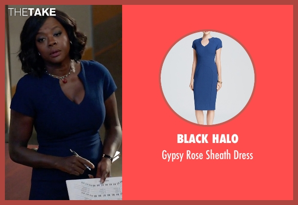 Black Halo blue dress from How To Get Away With Murder seen with Annalise Keating (Viola Davis)