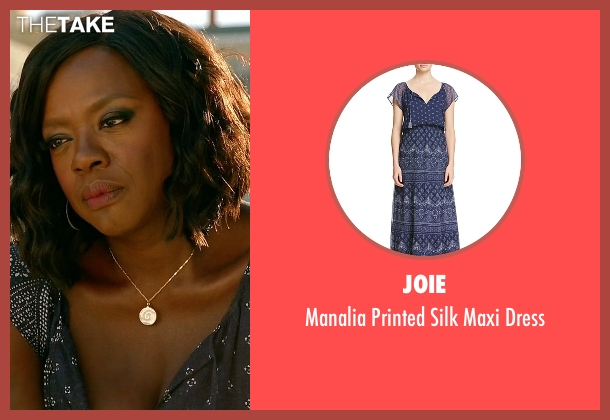Joie blue dress from How To Get Away With Murder seen with Annalise Keating (Viola Davis)