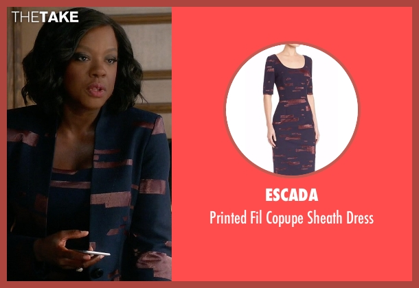 Escada blue dress from How To Get Away With Murder seen with Annalise Keating (Viola Davis)
