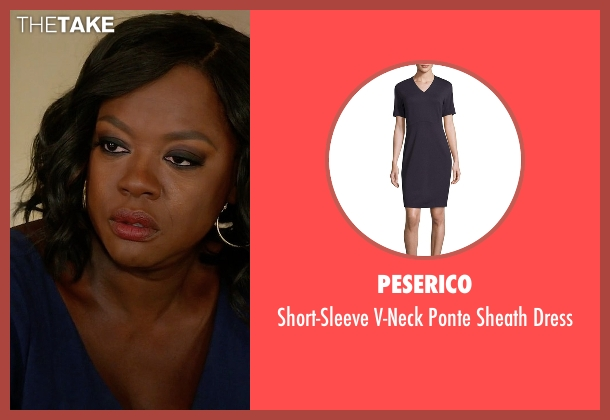 Peserico blue dress from How To Get Away With Murder seen with Annalise Keating (Viola Davis)