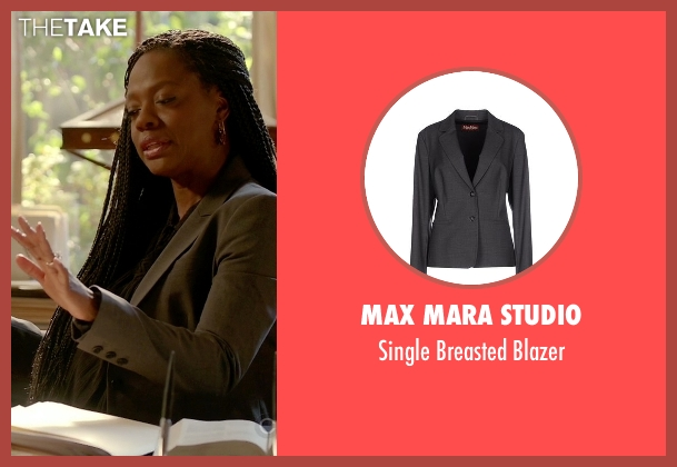 Max Mara Studio gray blazer from How To Get Away With Murder seen with Annalise Keating (Viola Davis)