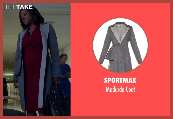Sportmax gray coat from How To Get Away With Murder seen with Annalise Keating (Viola Davis)