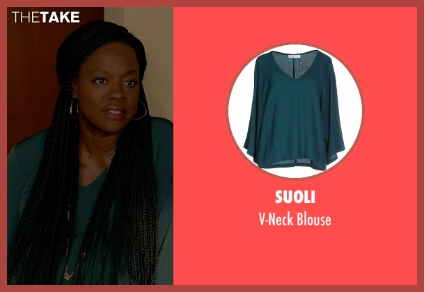 Suoli green blouse from How To Get Away With Murder seen with Annalise Keating (Viola Davis)