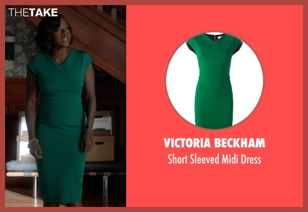 Victoria Beckham green dress from How To Get Away With Murder seen with Annalise Keating (Viola Davis)