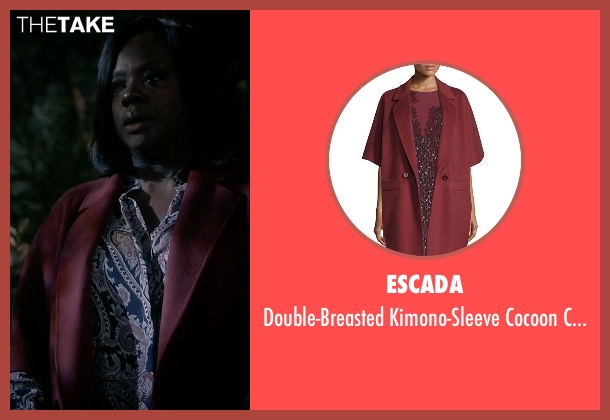 Escada red coat from How To Get Away With Murder seen with Annalise Keating (Viola Davis)
