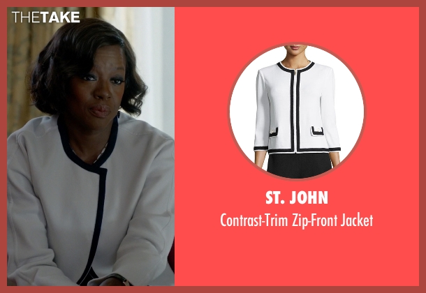St. John white jacket from How To Get Away With Murder seen with Annalise Keating (Viola Davis)