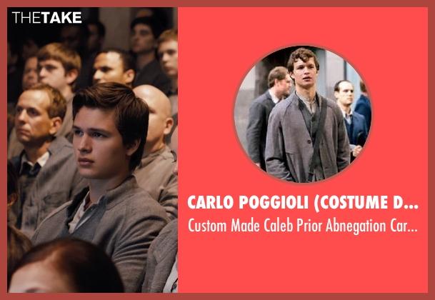 Carlo Poggioli (Costume Designer) gray cardigan from Divergent seen with Ansel Elgort (Caleb Prior )