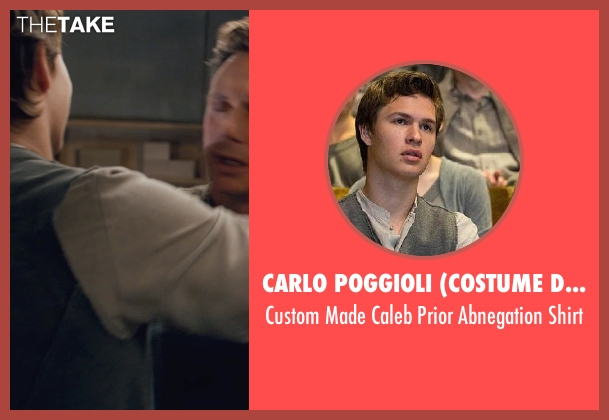 Carlo Poggioli (Costume Designer) gray shirt from Divergent seen with Ansel Elgort (Caleb Prior )