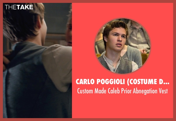 Carlo Poggioli (Costume Designer) gray vest from Divergent seen with Ansel Elgort (Caleb Prior )