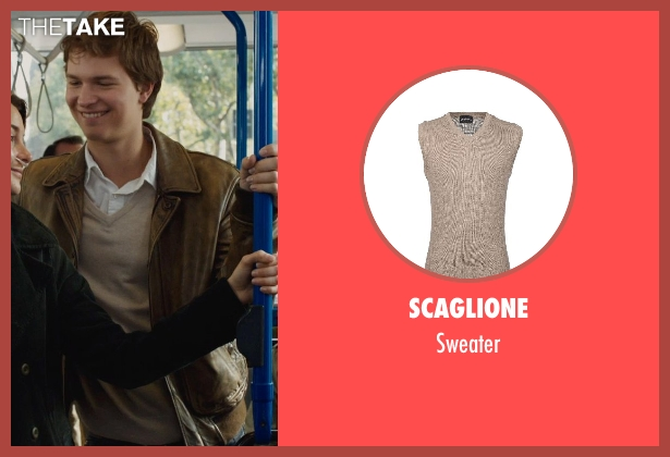 SCAGLIONE beige sweater from The Fault In Our Stars seen with Ansel Elgort (Augustus Waters)