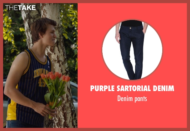 PURPLE SARTORIAL DENIM blue pants from The Fault In Our Stars seen with Ansel Elgort (Augustus Waters)