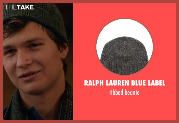 RALPH LAUREN BLUE LABEL gray beanie from The Fault In Our Stars seen with Ansel Elgort (Augustus Waters)