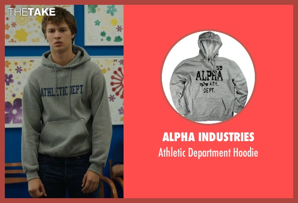 Alpha Industries gray hoodie from The Fault In Our Stars seen with Ansel Elgort (Augustus Waters)