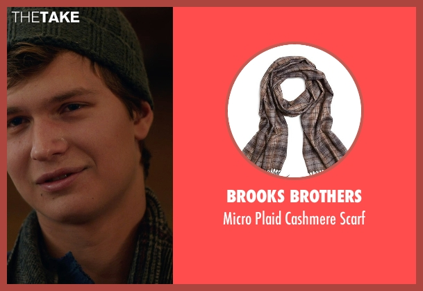 Brooks Brothers gray scarf from The Fault In Our Stars seen with Ansel Elgort (Augustus Waters)