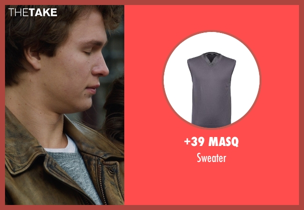 +39 MASQ gray sweater from The Fault In Our Stars seen with Ansel Elgort (Augustus Waters)