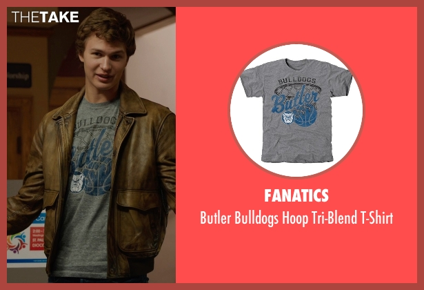 Fanatics gray t-shirt from The Fault In Our Stars seen with Ansel Elgort (Augustus Waters)